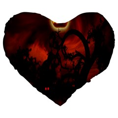 Halloween Pumpkins Tree Night Black Eye Jungle Moon Large 19  Premium Flano Heart Shape Cushions by Alisyart