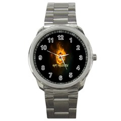 Happy Halloween Pumpkins Face Smile Face Ghost Night Sport Metal Watch by Alisyart