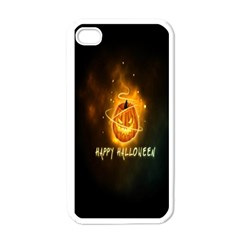 Happy Halloween Pumpkins Face Smile Face Ghost Night Apple Iphone 4 Case (white) by Alisyart