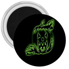 Pumpkin Black Halloween Neon Green Face Mask Smile 3  Magnets by Alisyart