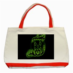 Pumpkin Black Halloween Neon Green Face Mask Smile Classic Tote Bag (red) by Alisyart