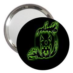 Pumpkin Black Halloween Neon Green Face Mask Smile 3  Handbag Mirrors by Alisyart