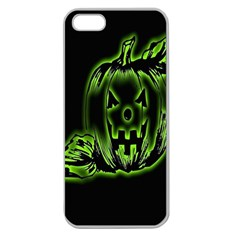 Pumpkin Black Halloween Neon Green Face Mask Smile Apple Seamless Iphone 5 Case (clear) by Alisyart