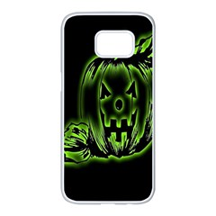 Pumpkin Black Halloween Neon Green Face Mask Smile Samsung Galaxy S7 Edge White Seamless Case by Alisyart