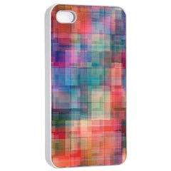 Rainbow Prism Plaid  Apple Iphone 4/4s Seamless Case (white) by KirstenStar