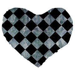 Square2 Black Marble & Ice Crystals Large 19  Premium Flano Heart Shape Cushions by trendistuff