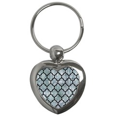 Tile1 Black Marble & Ice Crystals Key Chains (heart)  by trendistuff