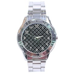 Woven2 Black Marble & Ice Crystals (r) Stainless Steel Analogue Watch by trendistuff