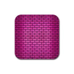 Brick1 Black Marble & Pink Brushed Metal Rubber Square Coaster (4 Pack)  by trendistuff