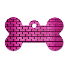 Brick1 Black Marble & Pink Brushed Metal Dog Tag Bone (two Sides) by trendistuff
