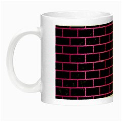 Brick1 Black Marble & Pink Brushed Metal (r) Night Luminous Mugs by trendistuff