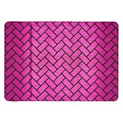 Brick2 Black Marble & Pink Brushed Metal Samsung Galaxy Tab 8 9  P7300 Flip Case by trendistuff