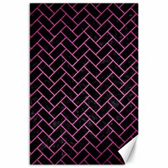 Brick2 Black Marble & Pink Brushed Metal (r) Canvas 24  X 36  by trendistuff