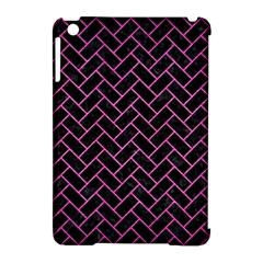 Brick2 Black Marble & Pink Brushed Metal (r) Apple Ipad Mini Hardshell Case (compatible With Smart Cover) by trendistuff