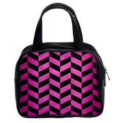 Chevron1 Black Marble & Pink Brushed Metal Classic Handbags (2 Sides) by trendistuff