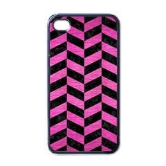 Chevron1 Black Marble & Pink Brushed Metal Apple Iphone 4 Case (black) by trendistuff