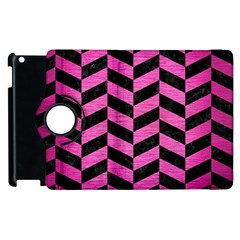 Chevron1 Black Marble & Pink Brushed Metal Apple Ipad 2 Flip 360 Case by trendistuff