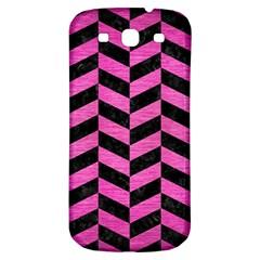 Chevron1 Black Marble & Pink Brushed Metal Samsung Galaxy S3 S Iii Classic Hardshell Back Case by trendistuff