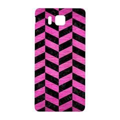 Chevron1 Black Marble & Pink Brushed Metal Samsung Galaxy Alpha Hardshell Back Case by trendistuff