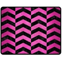 Chevron2 Black Marble & Pink Brushed Metal Fleece Blanket (medium)  by trendistuff