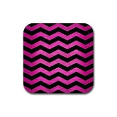 Chevron3 Black Marble & Pink Brushed Metal Rubber Coaster (square)  by trendistuff