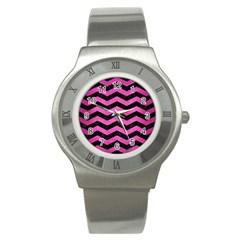 Chevron3 Black Marble & Pink Brushed Metal Stainless Steel Watch by trendistuff