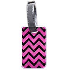 Chevron9 Black Marble & Pink Brushed Metal Luggage Tags (two Sides) by trendistuff