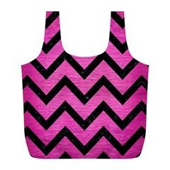 Chevron9 Black Marble & Pink Brushed Metal Full Print Recycle Bags (l)  by trendistuff