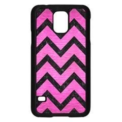 Chevron9 Black Marble & Pink Brushed Metal Samsung Galaxy S5 Case (black) by trendistuff