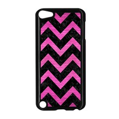 Chevron9 Black Marble & Pink Brushed Metal (r) Apple Ipod Touch 5 Case (black) by trendistuff