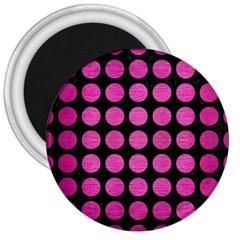 Circles1 Black Marble & Pink Brushed Metal (r) 3  Magnets by trendistuff