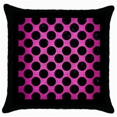 Circles2 Black Marble & Pink Brushed Metal Throw Pillow Case (black) by trendistuff