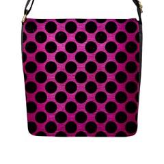 Circles2 Black Marble & Pink Brushed Metal Flap Messenger Bag (l)  by trendistuff