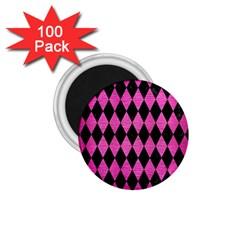 Diamond1 Black Marble & Pink Brushed Metal 1 75  Magnets (100 Pack)  by trendistuff