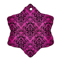 Damask1 Black Marble & Pink Brushed Metal Snowflake Ornament (two Sides) by trendistuff