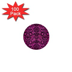 Damask2 Black Marble & Pink Brushed Metal 1  Mini Buttons (100 Pack)  by trendistuff
