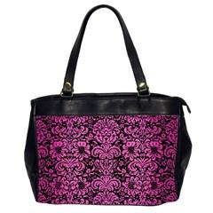 Damask2 Black Marble & Pink Brushed Metal (r) Office Handbags (2 Sides)  by trendistuff