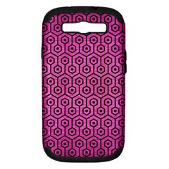 Hexagon1 Black Marble & Pink Brushed Metal Samsung Galaxy S Iii Hardshell Case (pc+silicone) by trendistuff