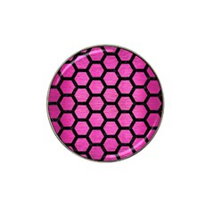 Hexagon2 Black Marble & Pink Brushed Metal Hat Clip Ball Marker (10 Pack) by trendistuff