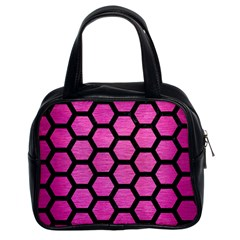 Hexagon2 Black Marble & Pink Brushed Metal Classic Handbags (2 Sides) by trendistuff