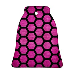 Hexagon2 Black Marble & Pink Brushed Metal Bell Ornament (two Sides) by trendistuff