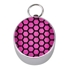 Hexagon2 Black Marble & Pink Brushed Metal Mini Silver Compasses by trendistuff