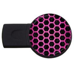 Hexagon2 Black Marble & Pink Brushed Metal (r) Usb Flash Drive Round (4 Gb) by trendistuff