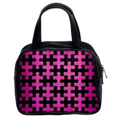 Puzzle1 Black Marble & Pink Brushed Metal Classic Handbags (2 Sides) by trendistuff