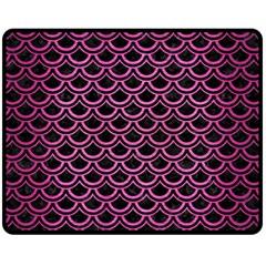 Scales2 Black Marble & Pink Brushed Metal (r) Fleece Blanket (medium)  by trendistuff