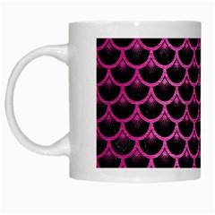 Scales3 Black Marble & Pink Brushed Metal (r) White Mugs by trendistuff
