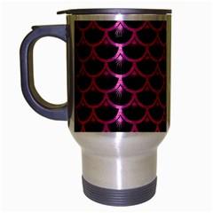 Scales3 Black Marble & Pink Brushed Metal (r) Travel Mug (silver Gray) by trendistuff