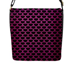 Scales3 Black Marble & Pink Brushed Metal (r) Flap Messenger Bag (l)  by trendistuff