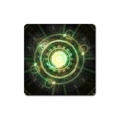 Green Chaos Clock, Steampunk Alchemy Fractal Mandala Square Magnet by jayaprime