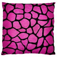 Skin1 Black Marble & Pink Brushed Metal (r) Large Cushion Case (two Sides) by trendistuff